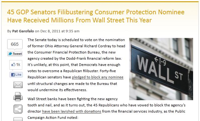45 GOP Senators Filibustering Consumer Protection Nominee Have Received Millions From Wall Street This Year