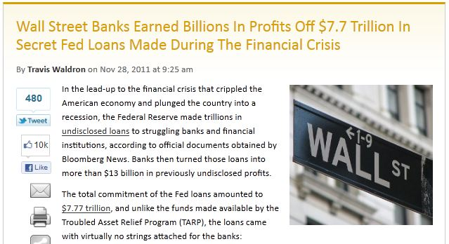 Wall Street Banks Earned Billions In Profits Off $7.7 Trillion In Secret Fed Loans Made During The Financial Crisis
