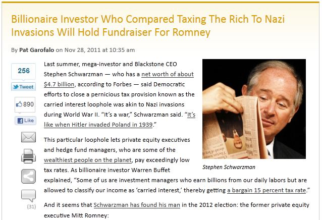 Billionaire Investor Who Compared Taxing The Rich To Nazi Invasions Will Hold Fundraiser For Romney